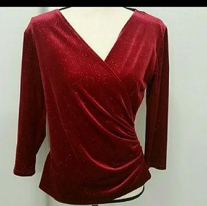 Dressbarn velour fitted blouse